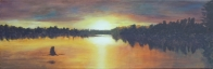 3698 - Muskoka Sunset #6 - Great Blue Heron at Sunset, Acrylic on Canvas, 8 x 24 inches, Copyright Wendie Donabie
